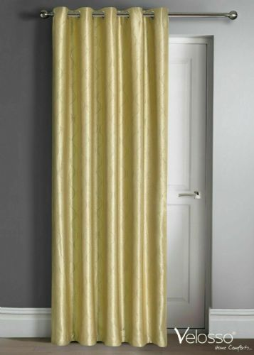 "Embossed Wave Thermal Light Reducing Ring Top Eyelet One Door Curtain Panel, 46"" X 84"" Ochre"